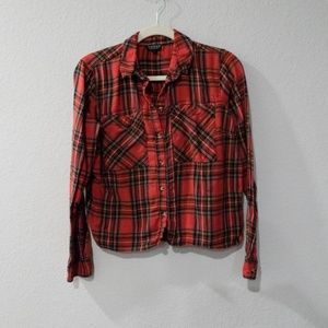 TopShop Red Plaid Button Down Top Size 8